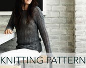 Knitting Pattern // Slim Ribbed Lace Drop Sleeve Summer Sweater // Bay Street Pullover PATTERN