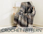 Crochet Pattern // Houndstooth Striped Woodsy Afghan Blanket // Houndstooth Cabin Throw PATTERN
