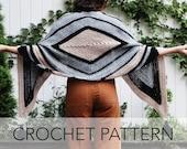 Crochet Pattern // Diamond Triangle Rectangle Tassel Shawl Wrap Scarf // Sliced Diamonds Wrap PATTERN