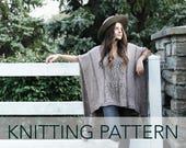 Knitting Pattern // Lace Eyelet Cutout Tassel Poncho V Neck // Caravan Poncho PATTERN