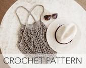 Crochet Pattern // Net Bag Market Tote Grocery Mesh String // French Market Bag PATTERN