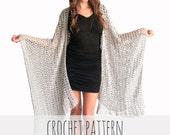 PATTERN for Loose Knit Crochet Poncho Beach Cover Up Wrap Cape Cardigan Ruana Boho // Playa Ruana PATTERN