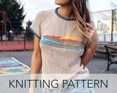 Knitting Pattern // Raglan Ringer 70s Retro Sunset Duplicate Stitch T-shirt Tee // Sunset Ringer Tee PATTERN