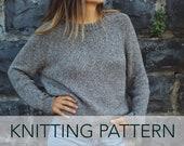 Knitting Pattern // Raglan Grey Crewneck Sweatshirt Vintage Sweater Jumper // Autumn League Pullover PATTERN