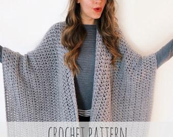 636db501e7c6 PATTERN for Blanket Poncho Crochet Wrap Cape Cardigan Ruana Boho    Blanket  Ruana PATTERN