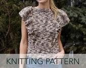 Knitting Pattern // Ruffle Flounce Tee 70s Retro Top Summer Sweater Feminine Cap Sleeve // Flutter Top PATTERN
