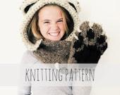 PATTERN for Bear Hat Hood Cowl Scarf Knit Toddler Child Adult // Bennett the Bear Hood PATTERN