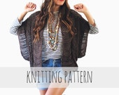 PATTERN for Loose Knit Ribbed Cardigan Shrug Boho Summer Sweater // Katherine Rib Cardigan PATTERN
