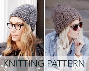 Knitting Pattern    Classic Slouchy Hat Cuffed Unisex Beanie Toque     Cousteau Cap PATTERN f895fd3b60a
