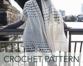 Crochet Pattern // Lace Eyelet Shawl Delicate Wrap Lightweight Super Scarf // Snowfall on the Bowery Wrap PATTERN