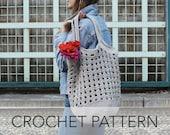 Crochet Pattern // Beach Bag Market Tote Mesh 70s Retro Basket // Janey Basket Bag PATTERN