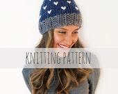 PATTERN for Chunky Soft Knit Hat Heart Beanie Pompom Ski Cap // Loveland Hat PATTERN