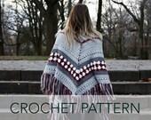Crochet Pattern // Fringe Shawl Wrap Scarf Granny Cluster Latvian Braid Striped // Fireside Wrap PATTERN