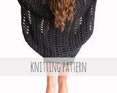 PATTERN for Loose Knit Poncho Beach Cover Up Cape Cardigan Shrug Boho // Beach Cape PATTERN