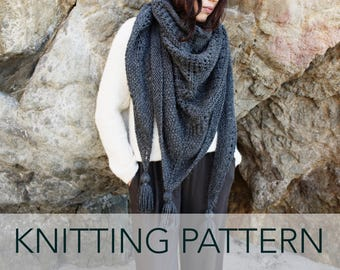 e314617b9bbf Knitting Pattern    Lace Eyelet Triangle Wrap Shawl Scarf Tassels     Cambria Wrap PATTERN