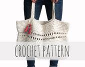 PATTERN for Beach Tote Weekend Bag Crochet Large Boho Purse // Day Tripper Bag PATTERN