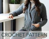 Crochet Pattern // Chunky Shawl Collar Grandpa Pockets Cardigan Sweater // Harold Cardigan PATTERN