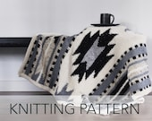 Knitting Pattern // Southwestern New Mexico Baby Blanket Throw Afghan Lapghan // Taos Lap Blanket PATTERN