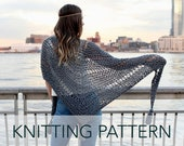 Knitting Pattern // Boho Loose Wrap Shawl Beach Cover Up Triangle Poncho Summer Scarf // Stevie Wrap PATTERN