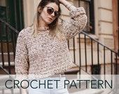 Crochet Pattern // Boxy Cropped Wide Sleeve Lightweight Chunky Summer Sweater // Candy Land Summer Jumper PATTERN