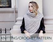 Knitting/Crochet Pattern // Asymmetric Cowl Vest Shawl Scarf One Armed // Huntress Vest PATTERN