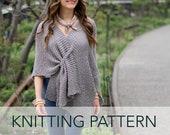 Knitting Pattern // Beginner Easy Elegant Sophisticated Poncho Ruana Wrap Shawl Knit Garter Stitch // Stone Ridge Ruana PATTERN