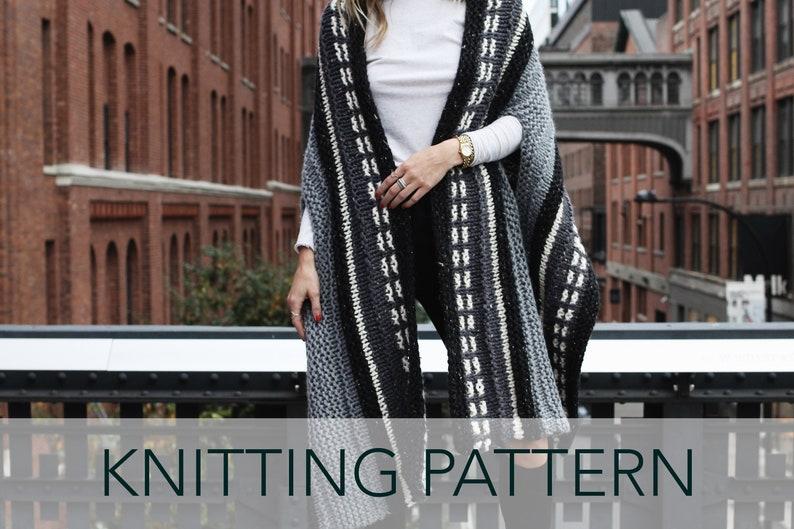 bf1c84fdd42f0 Knitting Pattern    Striped Wrap Armhole Scarf Cape Shawl