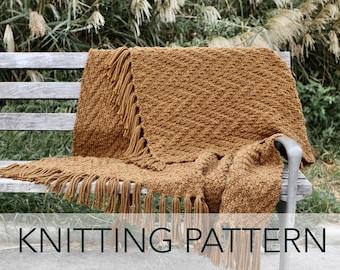 Knitting Pattern // Chevron Fringe Afghan Fall Blanket Beginner Textured // Harvest Throw PATTERN