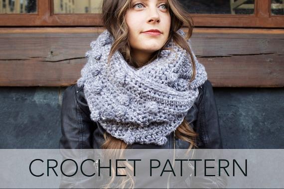 36555a1f9c0c Crochet Pattern    Bobble Stitch Pompom Infinity Scarf Cowl      Etsy