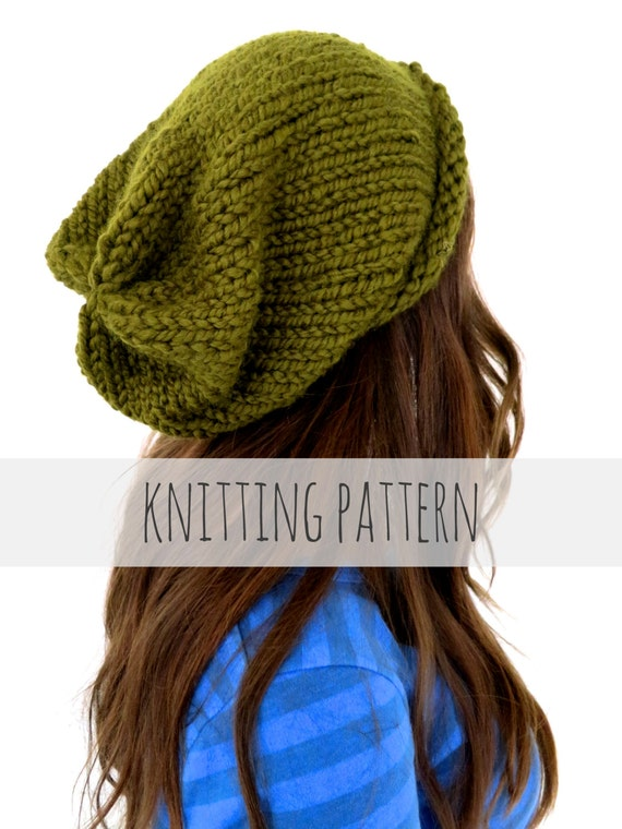 Pattern For Chunky Soft Knit Slouchy Beanie Hat Hipster Hat Etsy