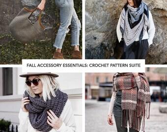 Crochet Pattern Bundle // Easy Fashion Fall Style Staples Seasonal Shawl Blanket Scarf // Fall Accessory Essentials Crochet PATTERN Suite