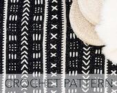 Crochet Pattern // African Mali Mudcloth Bogolanfini Modern Geometric Rug Afghan // Mudcloth Blanket PATTERN