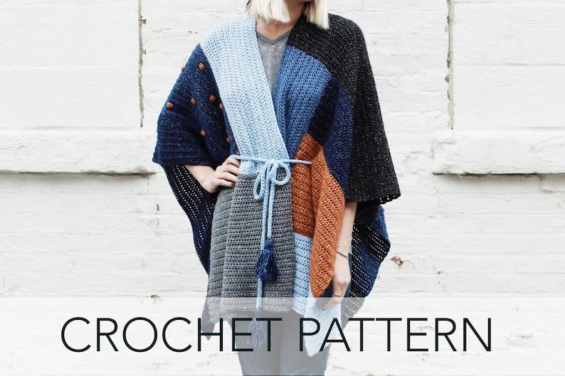 a2bd3d061 Crochet Pattern    Patchwork Cardigan Poncho Sweater Wrap