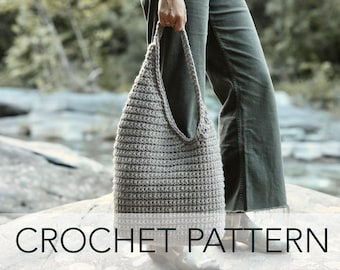 Crochet Pattern // Sling Bucket Asymmetric Hobo Purse Bag Slouchy Shoulder Bag Travel Tote // Dune Bag Pattern PATTERN