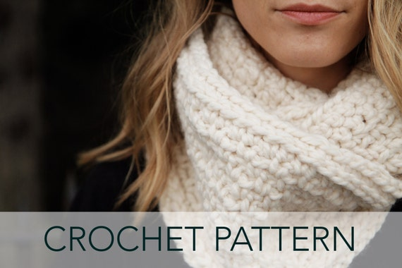 Crochet Pattern Elegant Cowl Infinity Scarf Linen Loop Etsy