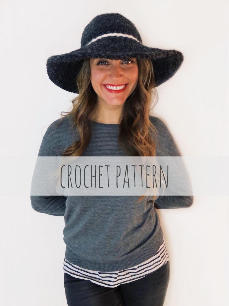 cb2b12f29ff PATTERN for Crochet Floppy Hat Winter Sun Wide Brim Derby Hat
