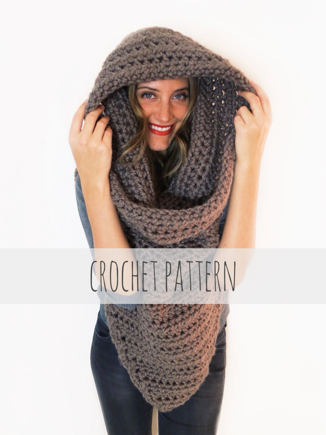 Pattern For Chunky Soft Crochet Poncho Scarf Cowl Hood All Etsy
