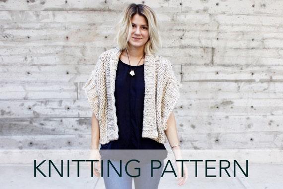 Knitting Pattern Ribbed Chunky Cardigan Shrug Boho Topper Etsy