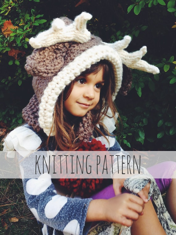 Pattern For Reindeer Hat Rudolph Hood Cowl Scarf Knit Toddler Etsy