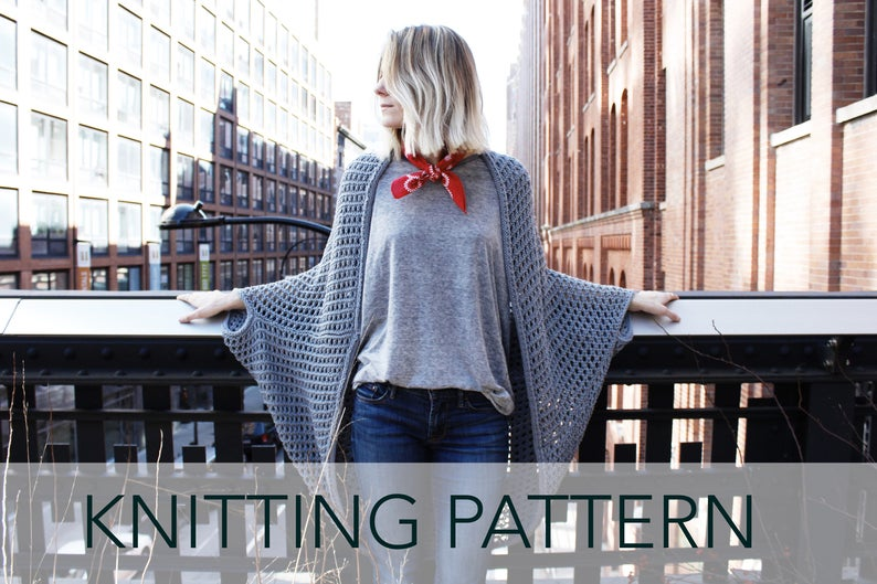 6512670d2 Knitting Pattern    Eyelet Lace Cocoon Summer Cardigan