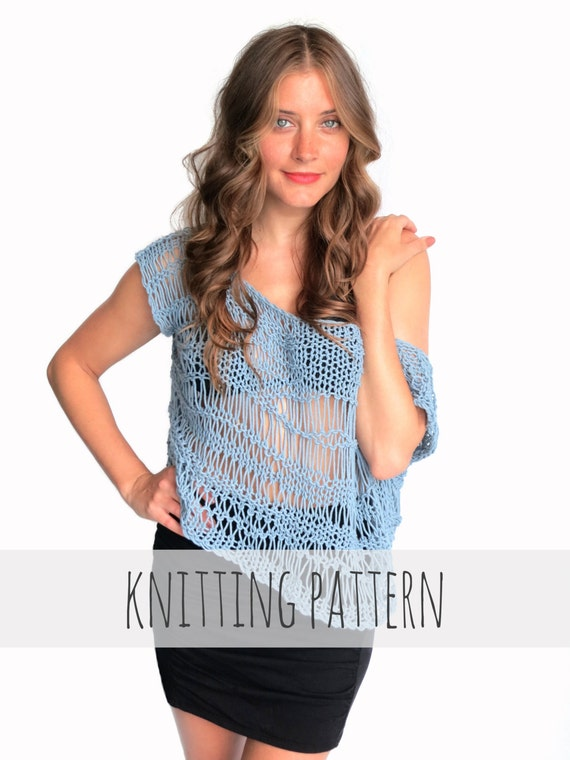 Pattern For Loose Knit Top Drop Stitch Lace Net Beach Cover Up Etsy