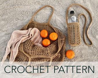 Crochet Pattern // Net Mesh Market Water Bottle Tote Bag Oversized Mini Beach Picnic  // Portofino Bag Set PATTERN