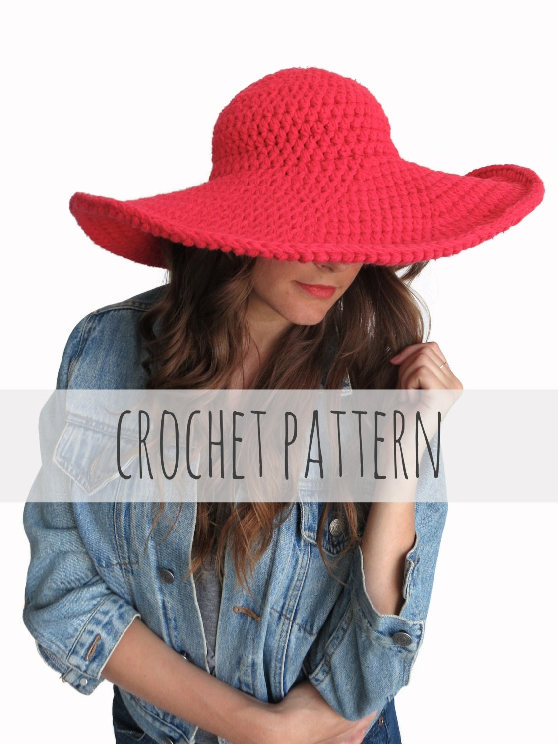 c84aa541b87b PATTERN for Crochet Floppy Hat Sun Wide Brim Derby Summer | Etsy