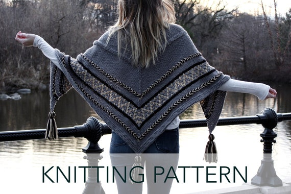 953219757afa2 Knitting Pattern    Triangle Wrap Tassels Top Down Shawl Scarf