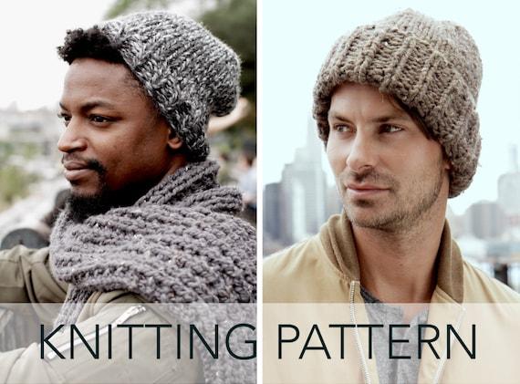 Knitting Pattern    Classic Slouchy Hat Cuffed Unisex Beanie  501604bf8a2