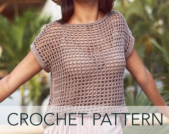 Crochet Pattern // Net Mesh Lace Crochet Tee Open Weave Squares Filet Boxy T-Shirt // Topaz Tee PATTERN