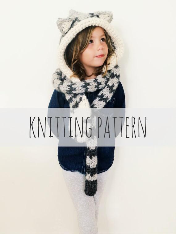 PATTERN for Cat Kitten Hat Hood Cowl Scarf Knit Toddler Child | Etsy