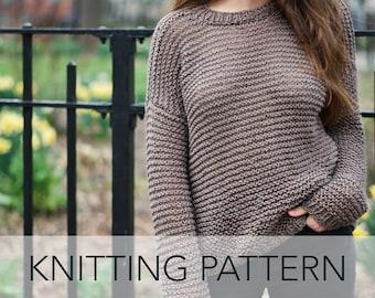 Knitting Pattern // Easy Oversized Slouchy Lightweight Garter Stitch High Low Summer Sweater // Spring Breeze Sweater PATTERN