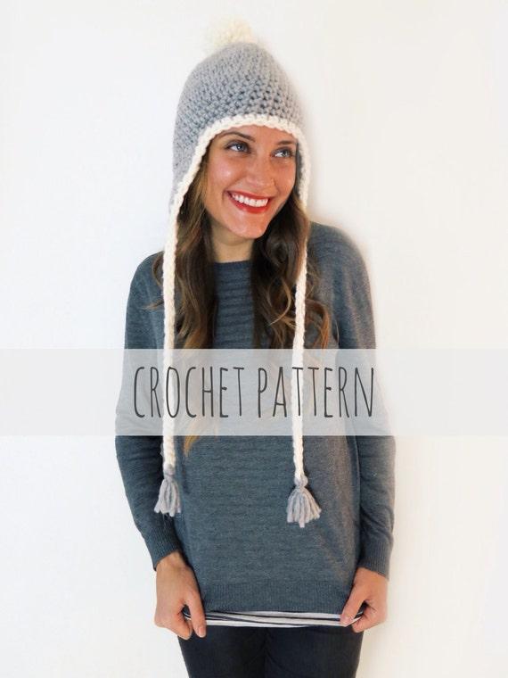 Pattern For Chunky Soft Crochet Earflap Hat Beanie Pompom Cap Etsy