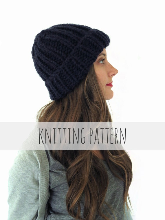 602fa334d66 PATTERN for Chunky Soft Knit Ribbed Beanie Hat